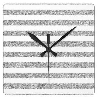 Elegantes Imitat-silbernes Glitter-Streifen-Muster Quadratische Wanduhr
