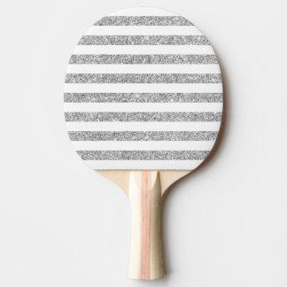 Elegantes Imitat-silbernes Glitter-Streifen-Muster Tischtennis Schläger