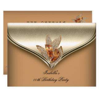 Elegantes Karamell-beige Goldgeburtstags-Party Karte