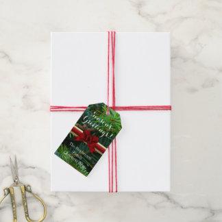 Elegantes Kiefern-Goldrotes Bogen-Weihnachten Geschenkanhänger