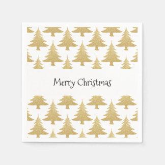 elegantes klares GoldGlitter Weihnachtsbaummuster Serviette