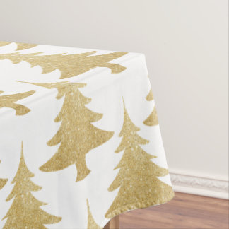 elegantes klares GoldGlitter Weihnachtsbaummuster Tischdecke