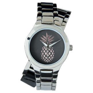 elegantes klares Imitat-Rosen-Goldtropische Ananas Uhr