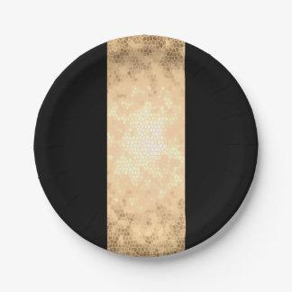 elegantes klares Imitatgold und schwarze Streifen Pappteller