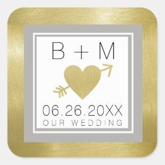 elegantes klassisches Liebemonogramm, Hochzeiten Quadratischer Aufkleber