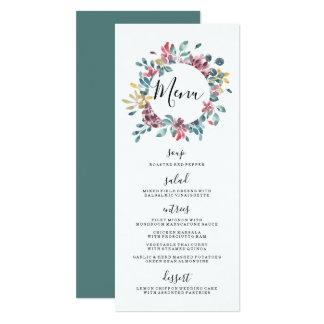 Elegantes Kranz-Hochzeits-Menü der Blüten-  Blumen Karte