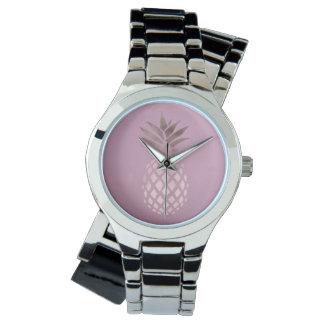 elegantes Kükenraum-Rosen-Goldtropische Ananas Uhr
