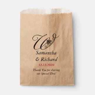 Elegantes kundenspezifisches Monogramm W Wedding | Geschenktütchen