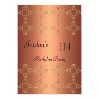 Elegantes kupfernes Gold30. Geburtstags-Party 12,7 X 17,8 Cm Einladungskarte