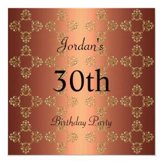 Elegantes kupfernes Gold30. Geburtstags-Party Quadratische 13,3 Cm Einladungskarte