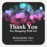Elegantes Licht-Geschäft danken Ihnen rosa Blau Quadrataufkleber