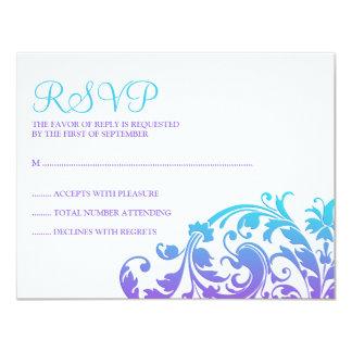 Elegantes lila aquamarines blühen Schläger Mitzvah 10,8 X 14 Cm Einladungskarte