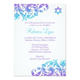 Elegantes lila aquamarines blühen Schläger Mitzvah 12,7 X 17,8 Cm Einladungskarte