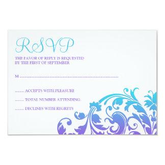 Elegantes lila aquamarines blühen Schläger Mitzvah 8,9 X 12,7 Cm Einladungskarte