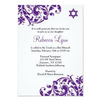 Elegantes Lila blühen Schläger Mitzvah 12,7 X 17,8 Cm Einladungskarte