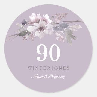 Elegantes lila Blumen90. Geburtstags-Party Runder Aufkleber