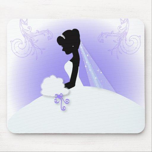 Elegantes lila Braut-Silhouette Brautparty Mauspads
