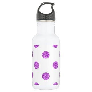 Elegantes lila Glitter-Polka-Punkt-Muster Edelstahlflasche