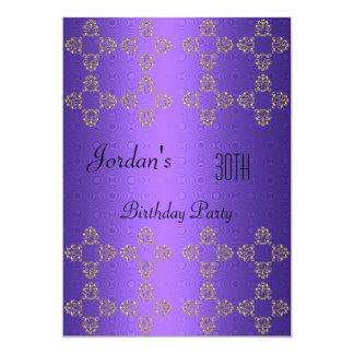 Elegantes lila Gold30. Geburtstags-Party 12,7 X 17,8 Cm Einladungskarte