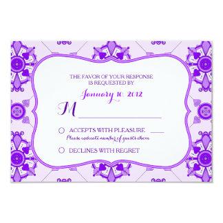 Elegantes lila Medaillon-Muster-Hochzeit UAWG 8,9 X 12,7 Cm Einladungskarte
