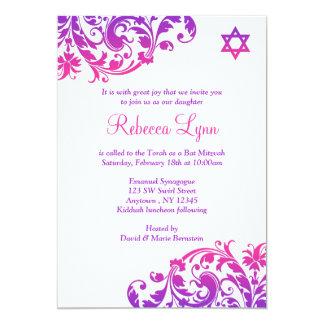 Elegantes lila Rosa blühen Schläger Mitzvah Einladungskarte