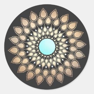 Elegantes Lotus-Mandala-Logo-holistischer Heiler Runder Aufkleber
