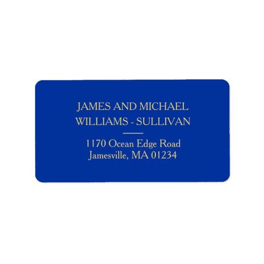 Elegantes Marine-Blau und Goldadressen-Etiketten Adressaufkleber