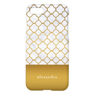 Elegantes Marmor und GoldQuatrefoil Muster iPhone 8/7 Hülle