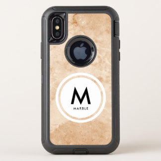 Elegantes Marmorsteinmonogramm OtterBox Defender iPhone X Hülle