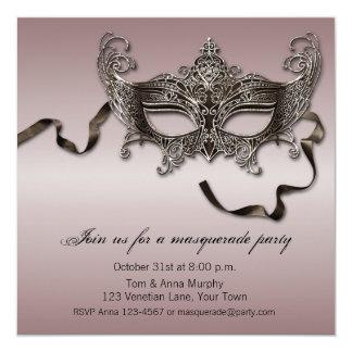 Elegantes Maskerade-Party Quadratische 13,3 Cm Einladungskarte