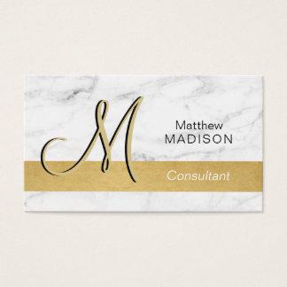 Elegantes mit Monogramm GoldSchwarz-weißer Marmor Visitenkarte