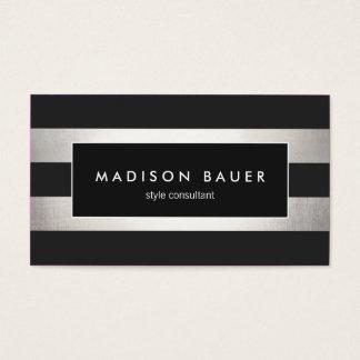 Elegantes modernes gestreiftes schwarzes IMITAT Visitenkarten