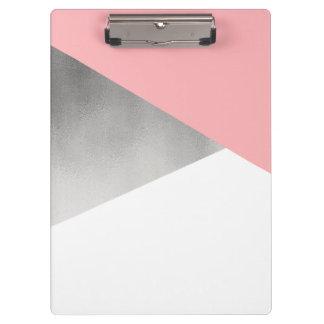 elegantes modernes Imitatsilber erröten rosa Klemmbrett