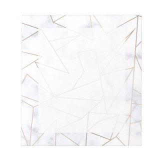 elegantes modernes Rosengoldgeometrischer weißer Notizblock