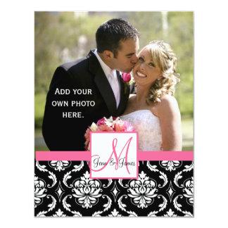 Elegantes Monogramm-Damast-Hochzeits-Foto danken 10,8 X 14 Cm Einladungskarte