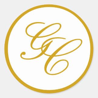 Elegantes Monogramm-Gold und weißer Runder Aufkleber