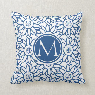 Elegantes Monogramm-klassische blaue Sonnenblume Zierkissen