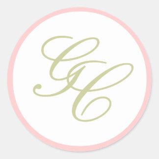Elegantes Monogramm-rosa und grüner Hochzeits-Aufk Runder Aufkleber