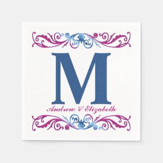 Elegantes Monogramm und Namen-Papierservietten Servietten