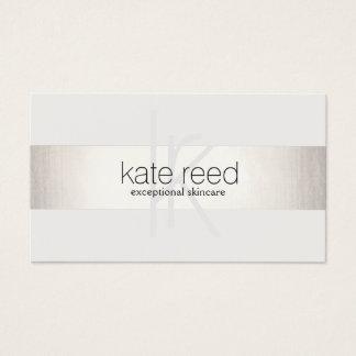 Elegantes Monogramm weißes modernes IMITAT Silber Visitenkarte