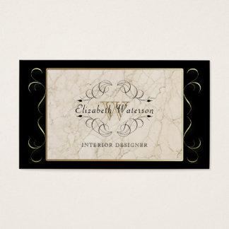 Elegantes Monogramm-weißes Visitenkarte