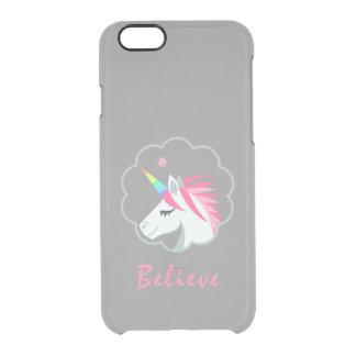 elegantes niedliches glauben an Unicorns emoji Durchsichtige iPhone 6/6S Hülle