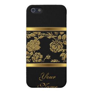 Elegantes nobles Goldschwarzes Blumen2 iPhone 5 Case