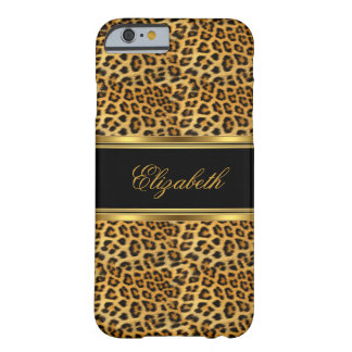 Elegantes nobles Leopard-Goldschwarzes Barely There iPhone 6 Hülle