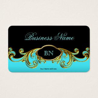 Elegantes nobles schwarzes aquamarines blaues Gold Visitenkarte