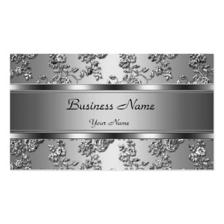 Elegantes nobles Silber prägeartiger Blumenblick Visitenkarten