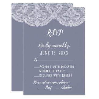 Elegantes nostalgisches Spitze-Stahlblau-Hochzeit Karte