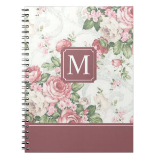 Elegantes Notizbuch des Blumenmuster-Monogramm-| Spiral Notizblock