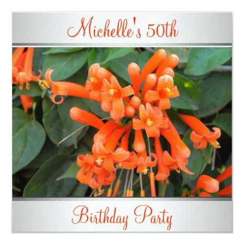 Elegantes Orange Blumen Foto 50 Geburtstag Einladung Meine