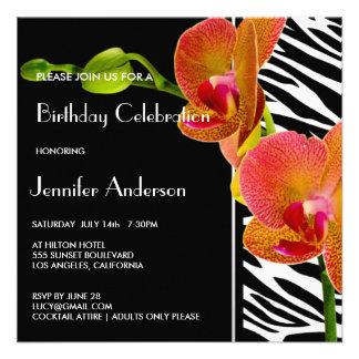 Elegantes Orchideenzebra-Druck-Geburtstags-Party Personalisierte Ankündigungskarte